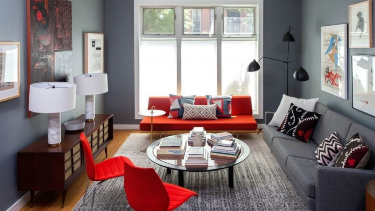6 Gorgeous Grey Living Rooms With Red Details