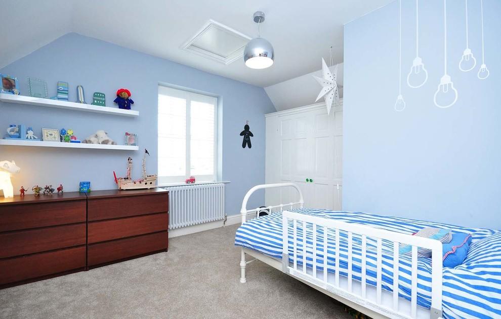 Cream blue stripe rug boys room