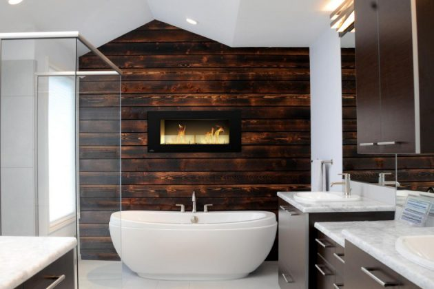 16 Marvelous Bathroom Designs With Wooden Wall That Abound With Elegance & Warmth