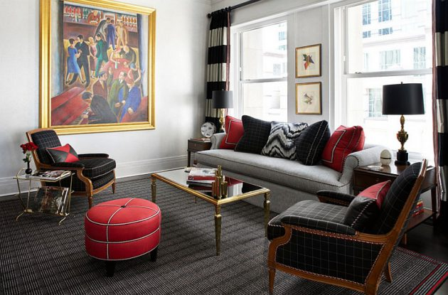 16 Gorgeous Grey Living Rooms With Red Details