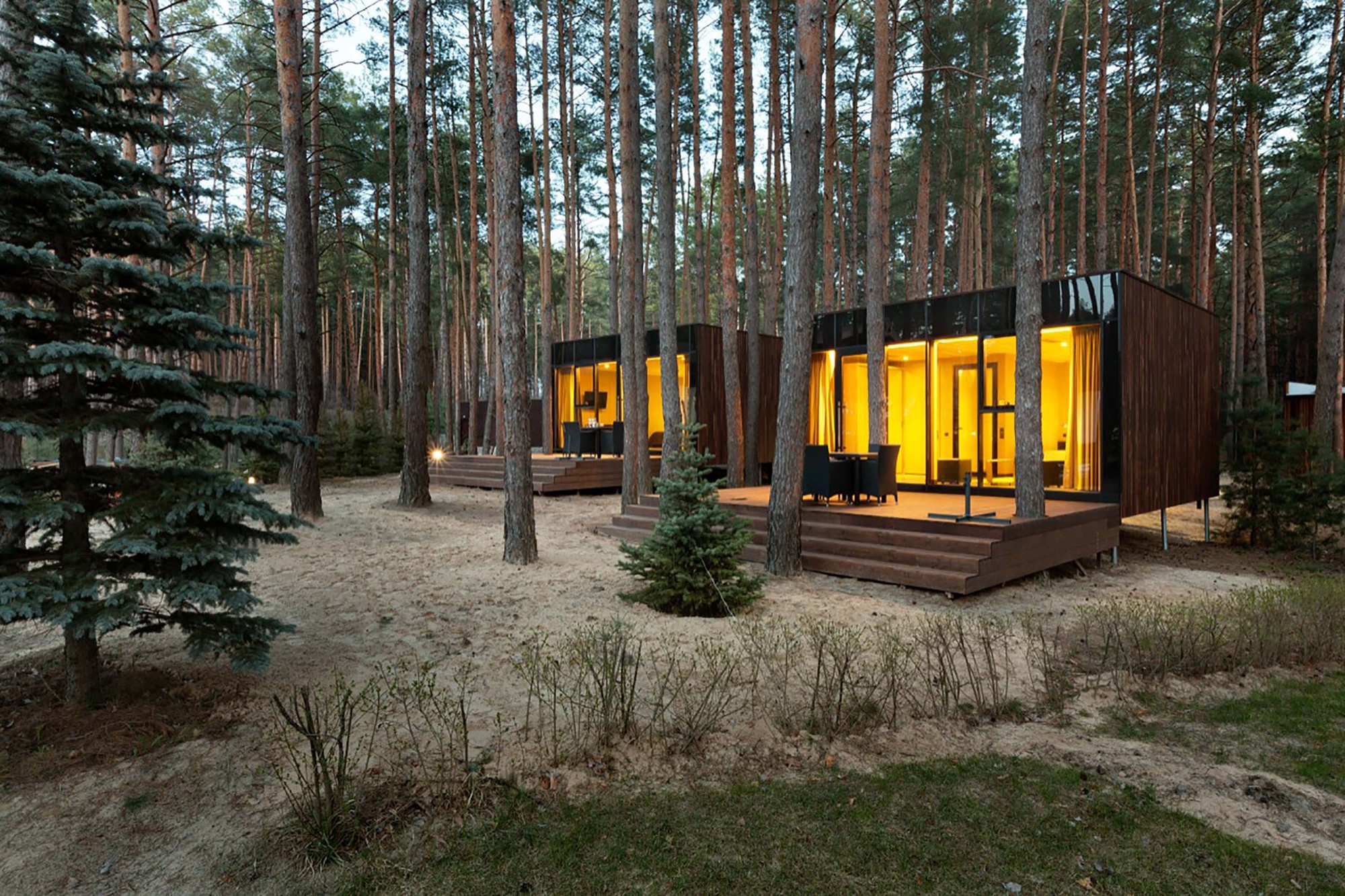 Contemporary guest houses made of timber by yod design lab for Contemporary timber homes