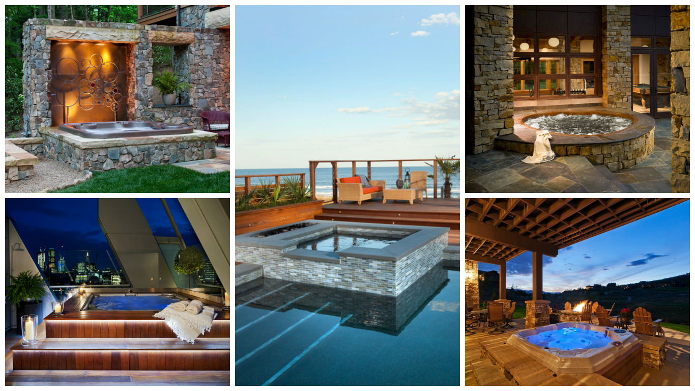 17 fascinating outdoor jacuzzi designs that will take your. Black Bedroom Furniture Sets. Home Design Ideas