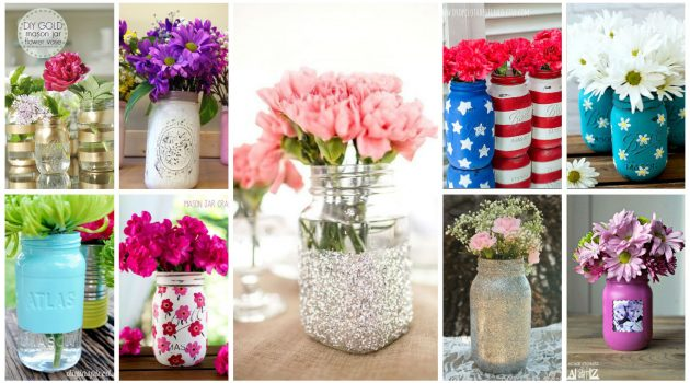 20 Cool & Easy Ideas For Creating DIY Mason Jars Vases