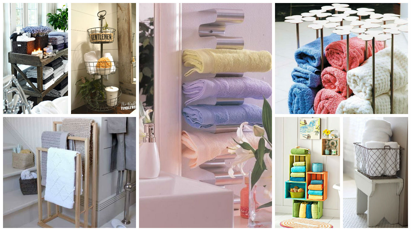20 really inspiring diy towel storage ideas for every for Towel storage bathroom ideas