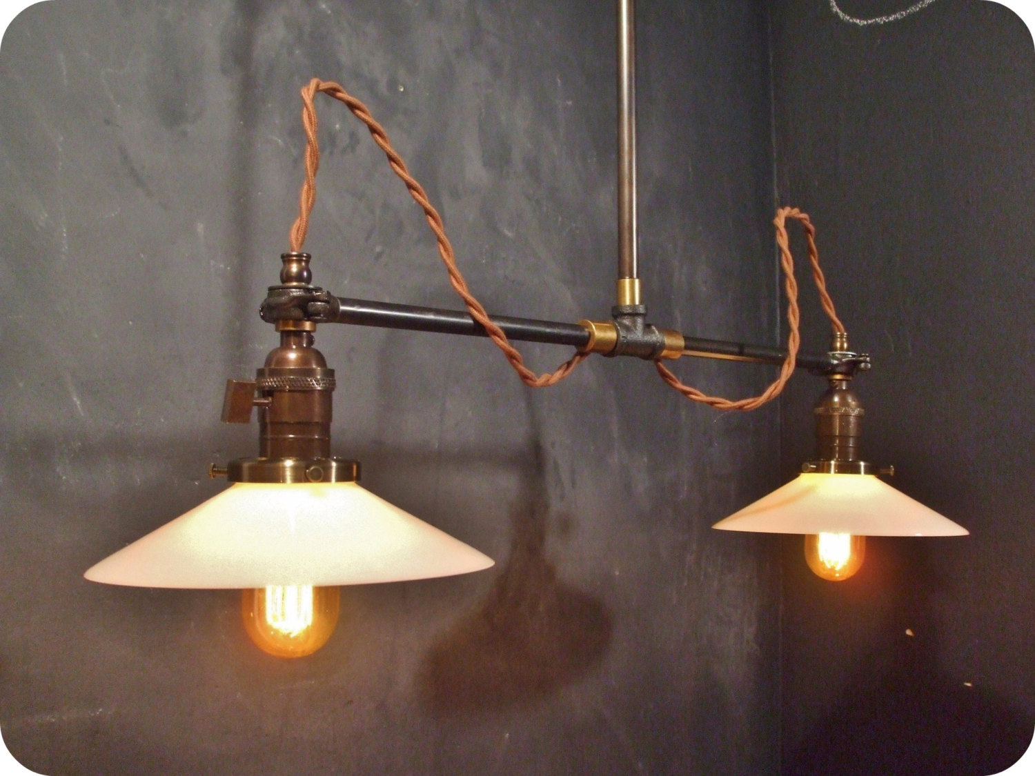 Vintage Industrial Double Shade Ceiling Light