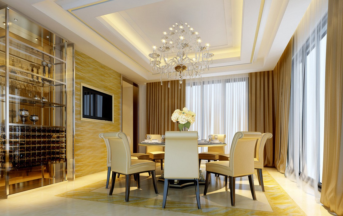 17 eye catching ceiling designs to spruce up the look of for Dining room ceiling designs pictures