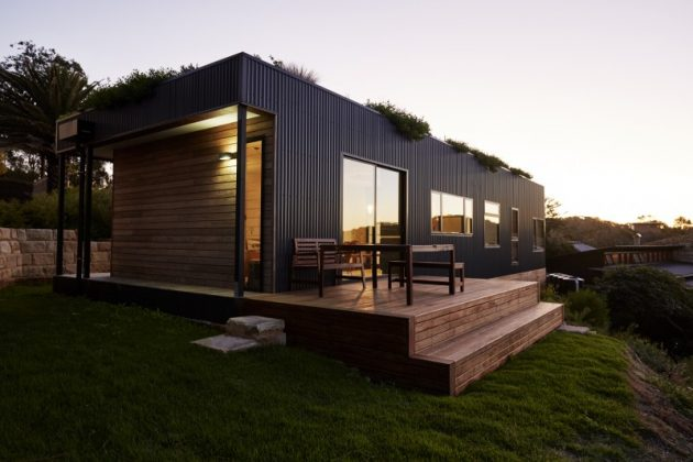 Avalon A Modern Prefab Beach House With Green Roof by ArchiBlox