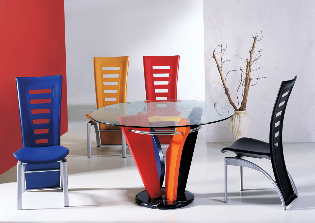 Dining Room With Multicolored Chairs, Colorful Dining Room Sets