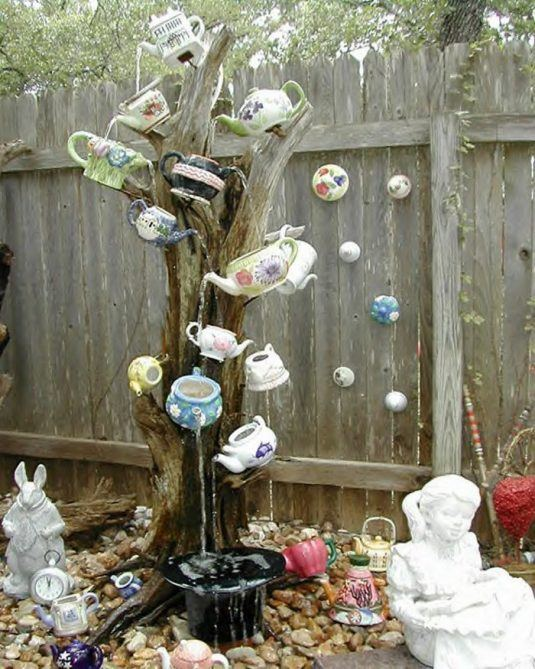 17 irresistible diy teapot garden decorations that you - Alice in wonderland outdoor decorations ...