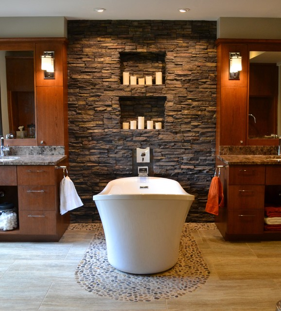 19 Classy Bathroom Designs With Addition Of Stone For Elegant Look
