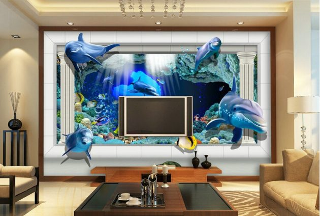 17 fascinating 3d wallpaper ideas to adorn your living room for Living room 3d designs
