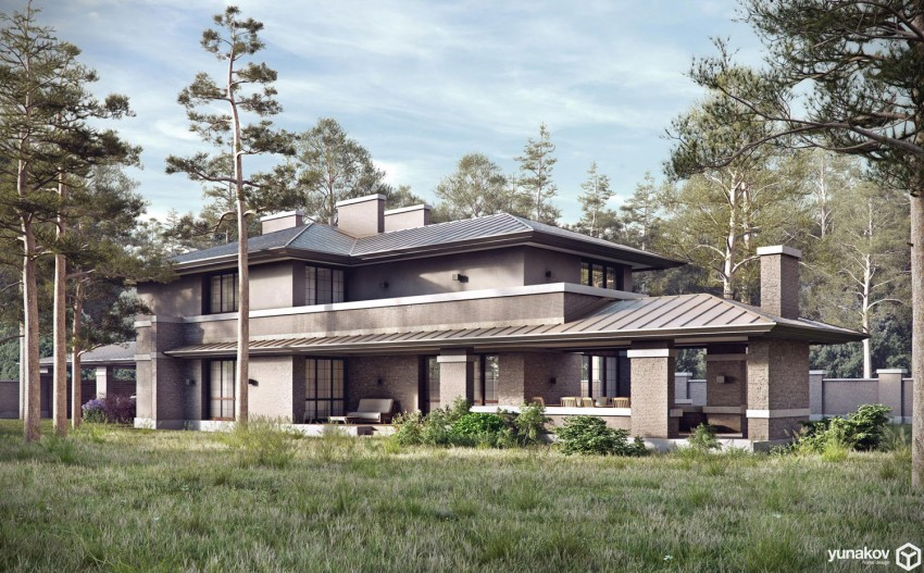 A contemporary prairie house by yunakov architecture in for Prairie house plans
