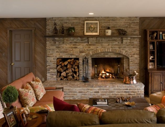 17 astounding brick fireplace designs that you need to see Brick fireplace wall decorating ideas