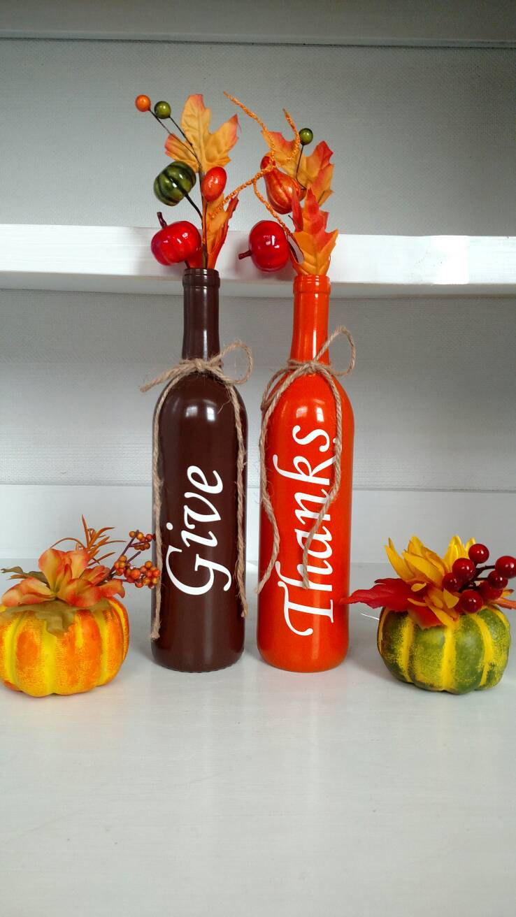 16 charming handmade thanksgiving centerpiece ideas that for Wine bottle decorations handmade