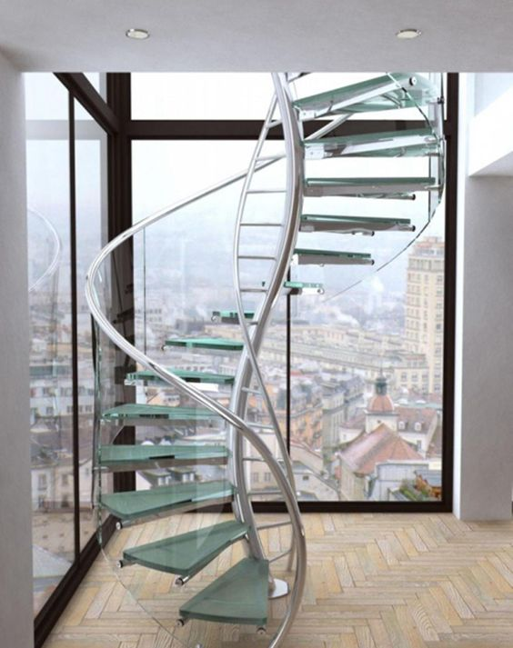 15 Stunning Glass Spiral Staircase Designs That You Shouldn't Miss