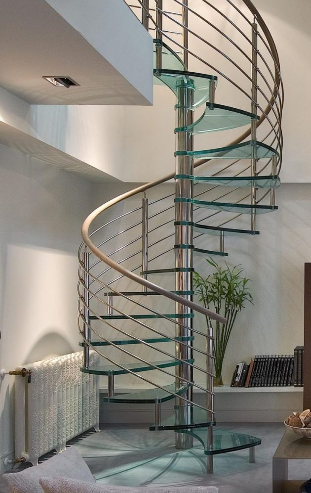 15 Stunning Glass Spiral Staircase Designs That You