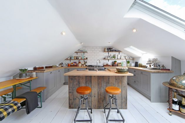 16 Super Functional Attic Kitchens That Will Impress You