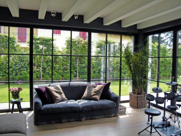 astounding glass wall living room design | 18 Striking Living Room Designs With Glass Walls That You ...