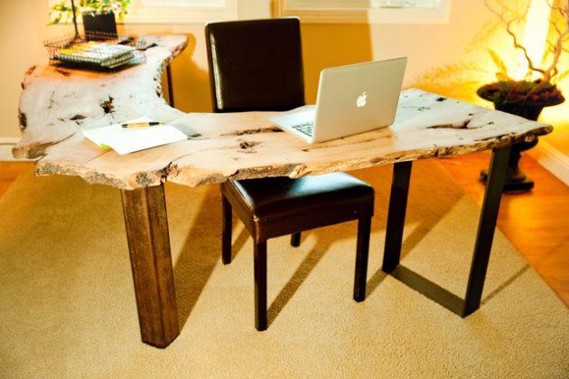 15 Original Home Office Designs With Unique Live-Edge Desk