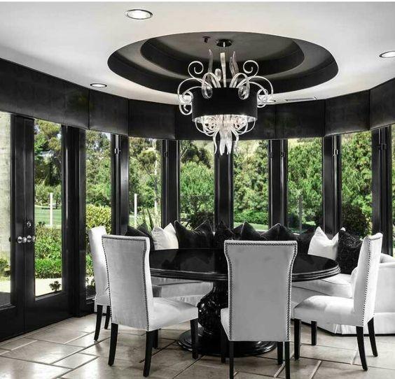 Timeless Black & White Dining Room Designs For Glamorous