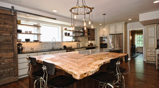 17 Charming Kitchen Countertop Designs Made Of Reclaimed Wood