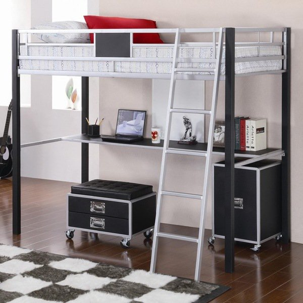 super functional bunk beds with desk for small spaces