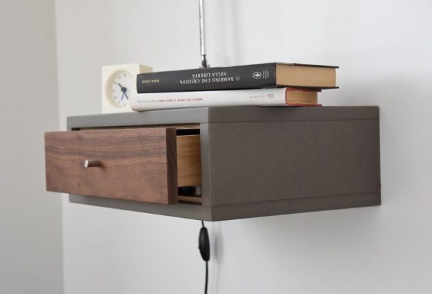 16 convenient handmade bedside table designs you 39 ll find a - Table de chevet murale contemporaine ...