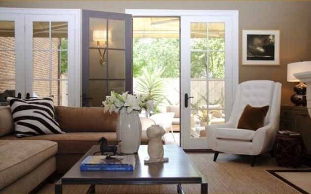 Living Rooms With French Doors