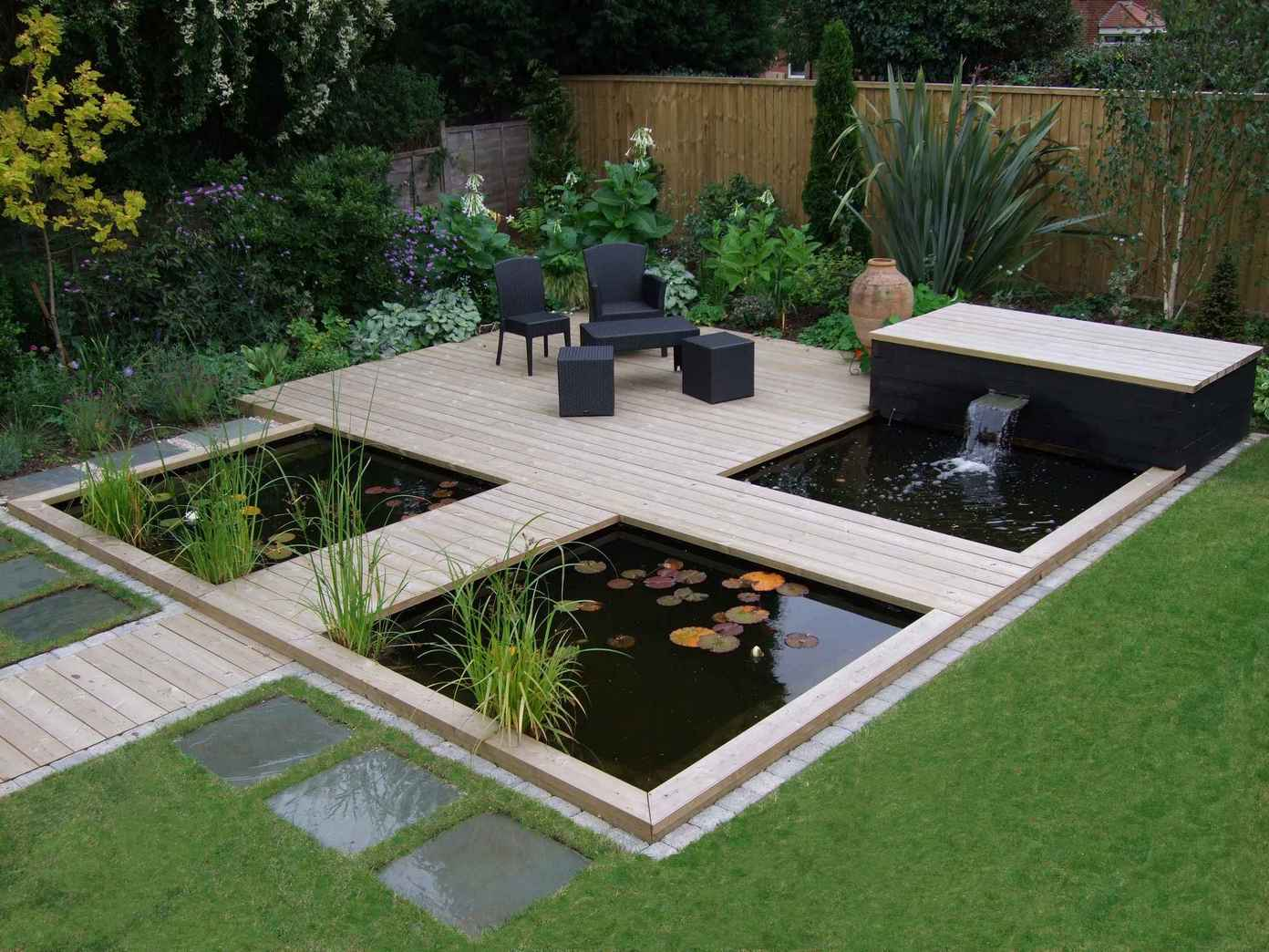 16 attractive garden pond designs that everyone should see. Black Bedroom Furniture Sets. Home Design Ideas