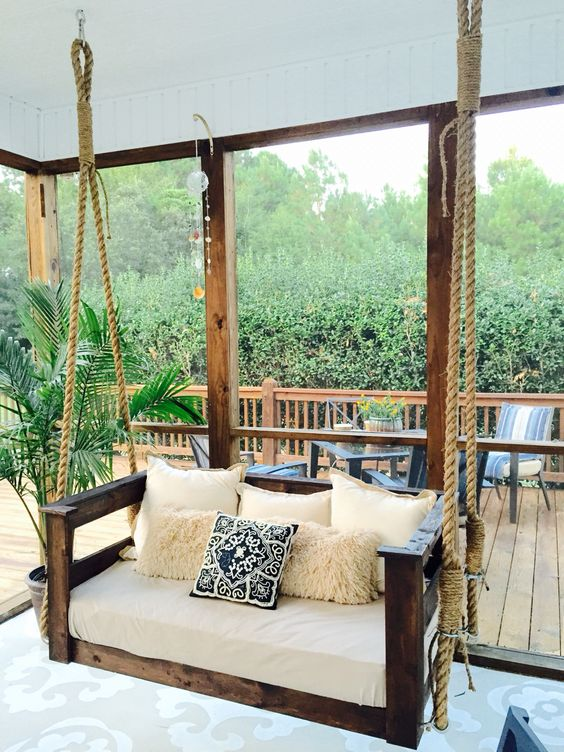 19 Marvelous Porch Swing Designs For Spring Enjoyment