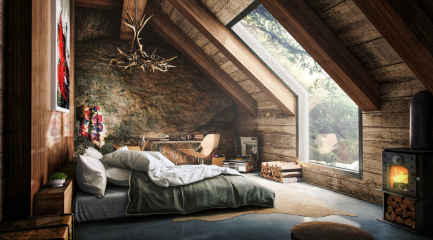 15 Marvelous Attic Interiors With Big Windows That Will Delight You