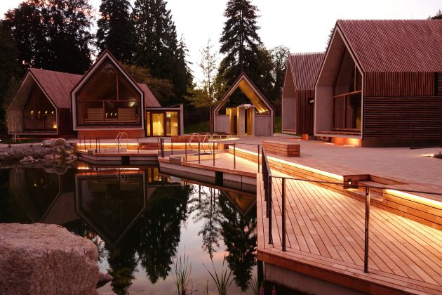 Jordanbad Sauna Village by Jeschke Architektur & Planung in Biberach, Germany