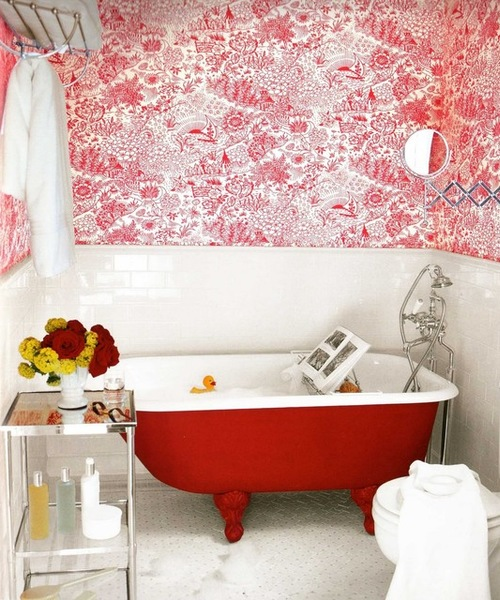 8 Bathrooms That Wow With Wallpaper