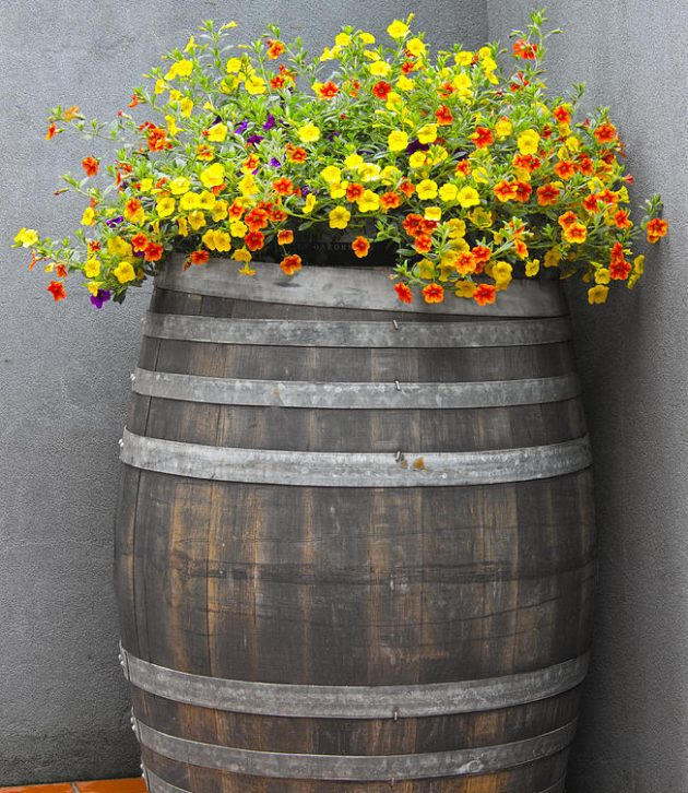15 Impressive DIY Wine Barrel Planters That You Can Make