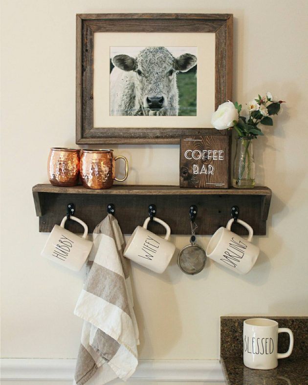 17 Rustic Handmade Mug Rack Designs For Your Kitchen