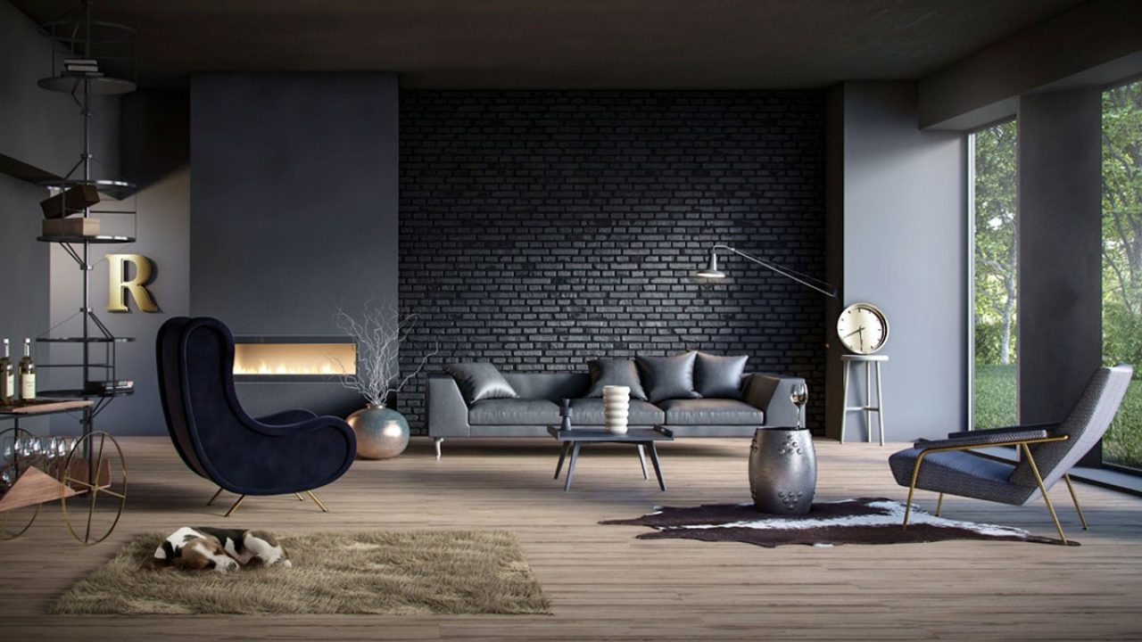 living rooms with black brick wall