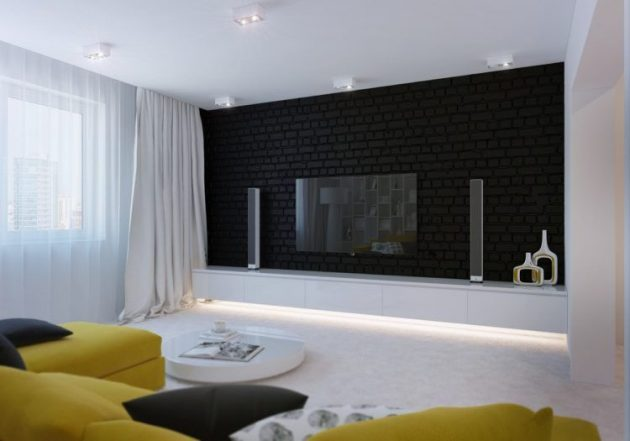 10 Splendid Living Rooms With Black Brick Wall For Dramatic Ambience
