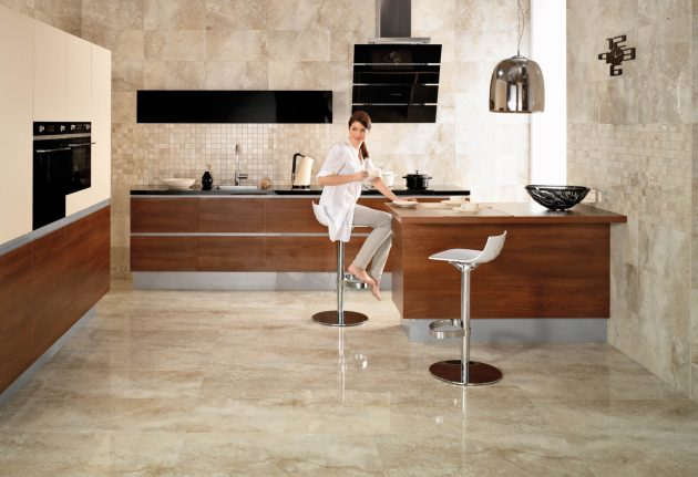 15 Delightful Kitchen Designs With Marble Flooring For Luxurious Look