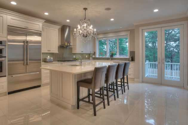 Delightful Kitchen Designs With Marble Flooring For Luxurious Look