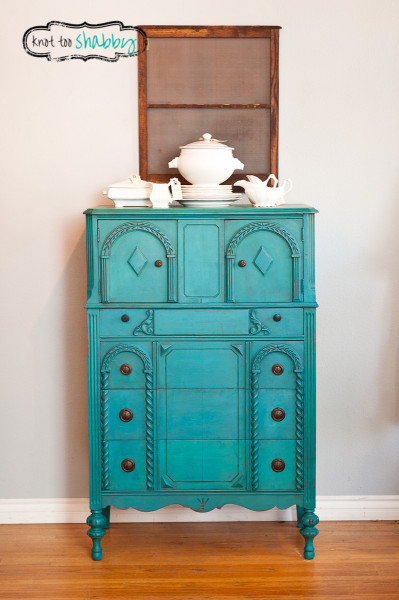 Peacock Blue Antique Dresser