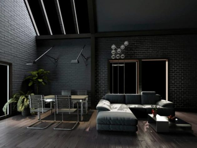 10 Splendid Living Rooms With Black Brick Wall For