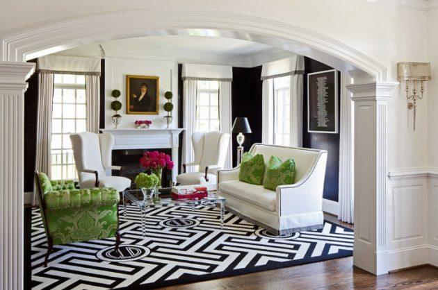 18 Excellent Black & White Carpet Designs To Adorn Your Living Room