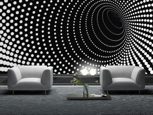15 outstanding wall art ideas inspired by optical illusions. Black Bedroom Furniture Sets. Home Design Ideas