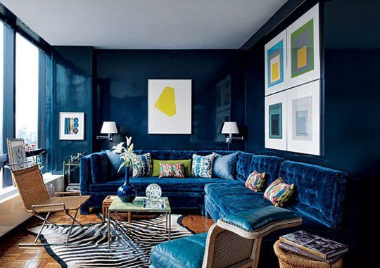 Brilliant Interior Designs With Dark Blue For Dramatic Ambience
