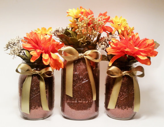 Shabby chic handmade fall mason jar decor ideas for the