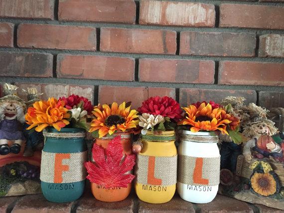 17 Shabby Chic Handmade Fall Mason Jar Decor Ideas For The Home