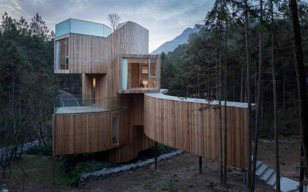 Qiyun Mountain Tree House Hotel by Bengo Studio in Xiuing, China
