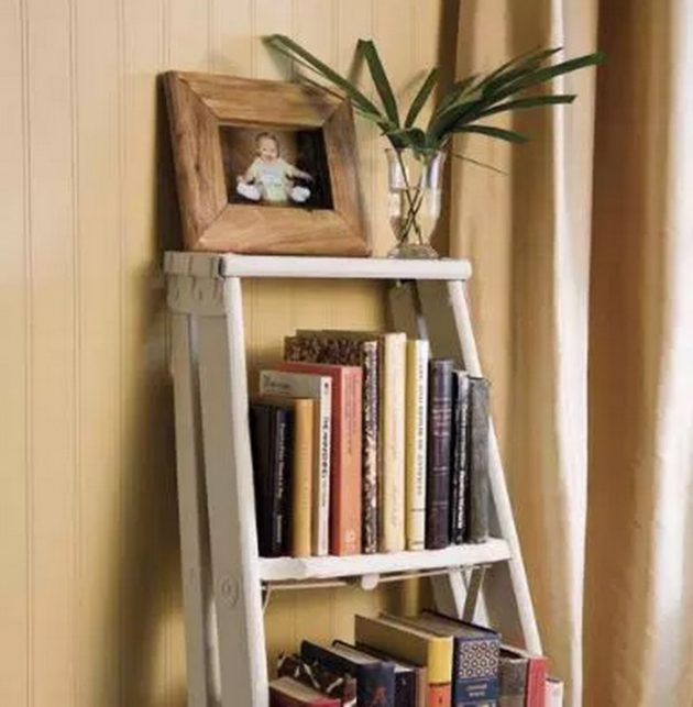 15 Outstanding Bookshelf Designs Made Of Repurposed Ladders