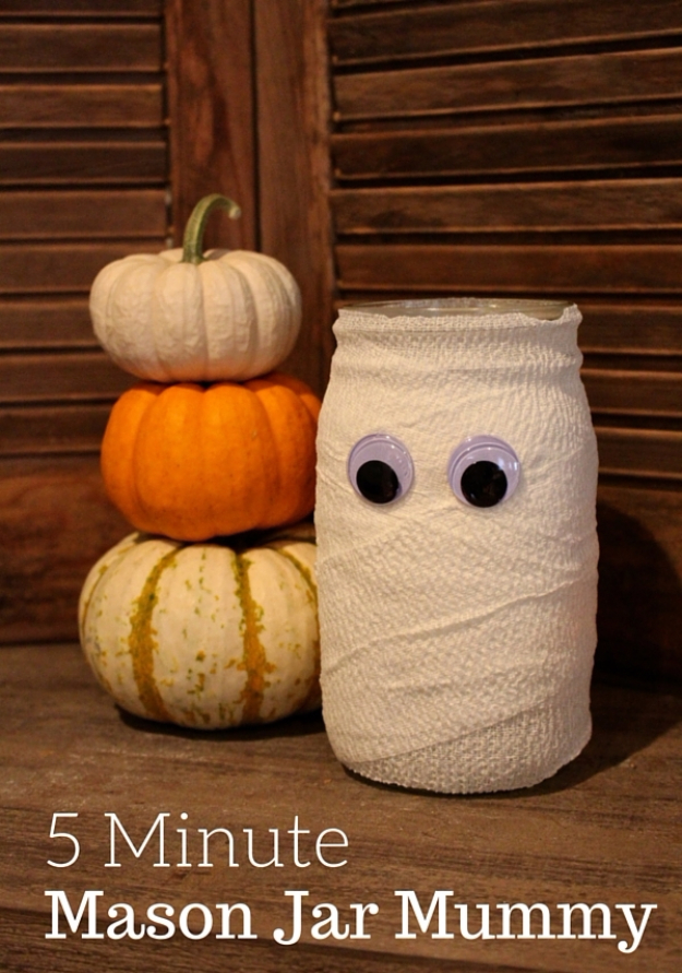 Halloween Mason Jar Mummy. 15 Spooky Last Minute DIY ...