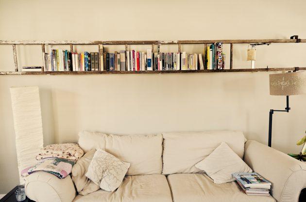 15 Outstanding Bookshelf Designs Made Of Repurposed Ladders